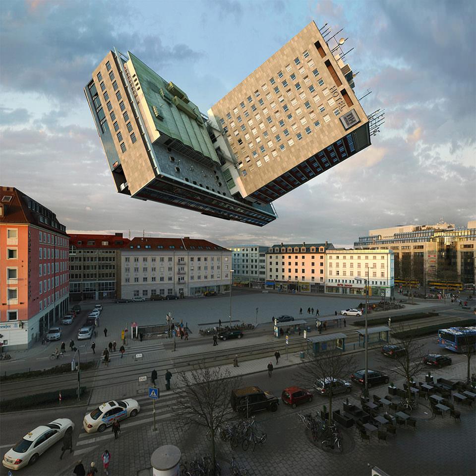 Ein Haus fliegt