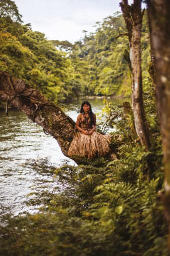 Eine Frau sitzt auf einem Baum