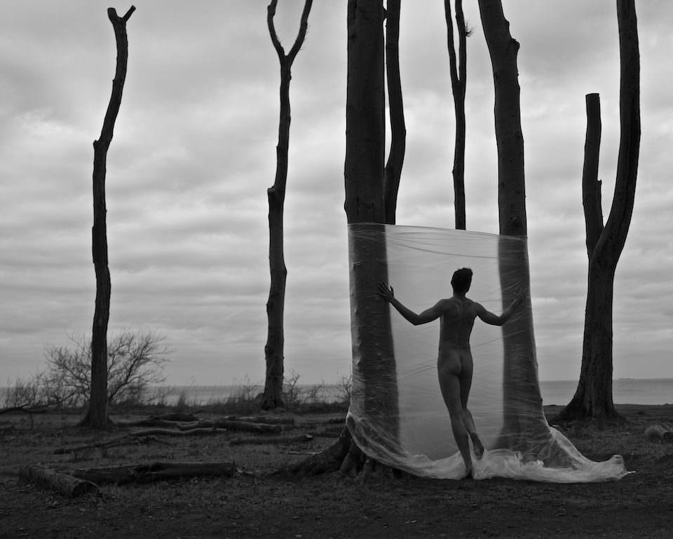 Ein Mann vor einer Folie zwischen Bäumen