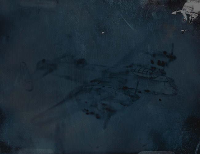 Dunkle Abbildung eines Flugkörpers auf Papier.