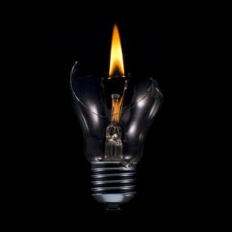 Brennende Glühlampe