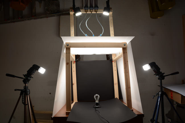 Set-Aufbau mit Glühlampe