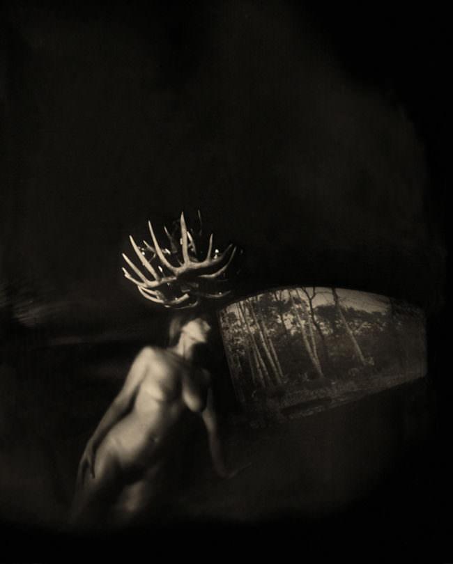 Nackte Frau mit einer Art Geweih vor einer Landschaft.