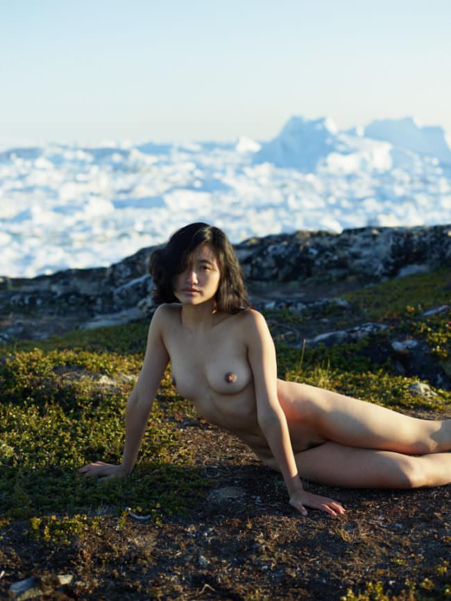 Eine Frau posiert nackt auf einer Wiese liegend