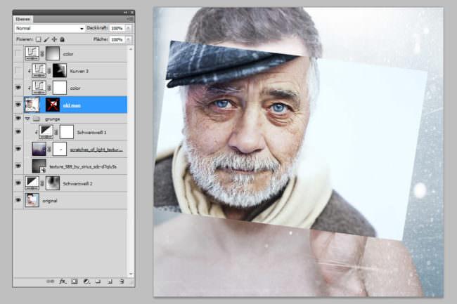 Photoshop Screenshot mit dem Portrait eines Mannes