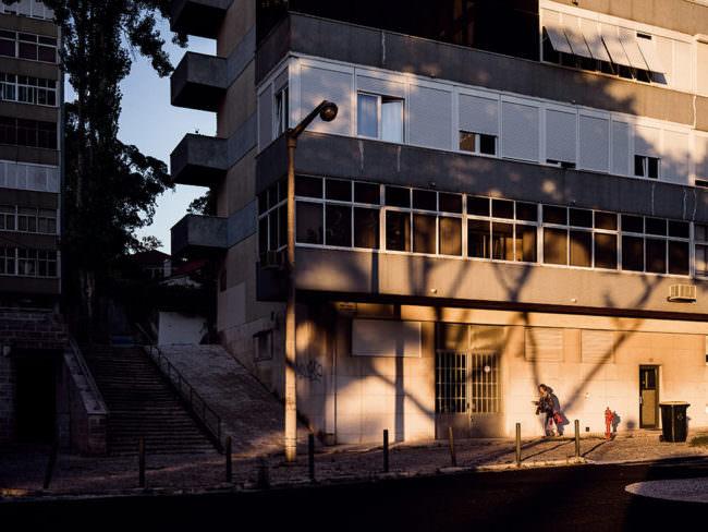 Schattenwurf eines Baumes im Abendlicht auf einem Gebäude.