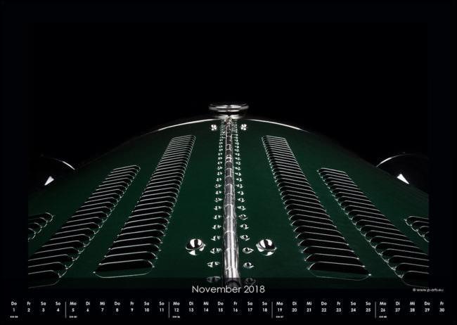 Kalenderseite mit dem Detail eines grünen Autos