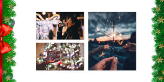 Drei Bilder auf hellem Grund mit weihnachtlicher Girlande am Rand.