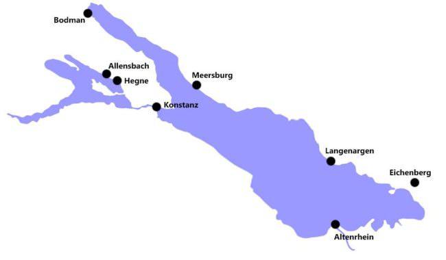 Karte des Bodensees
