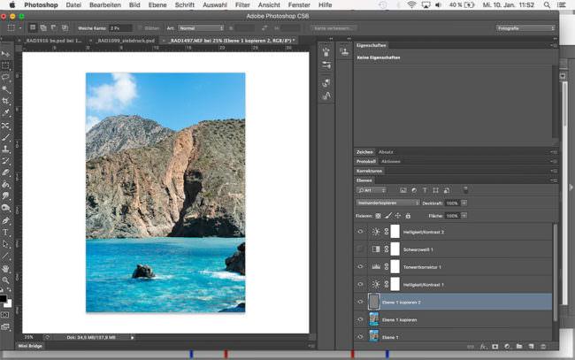 Ansicht eines Bearbeitungsbildschirms mit einer Landschaftsaufnahme von Photoshop.