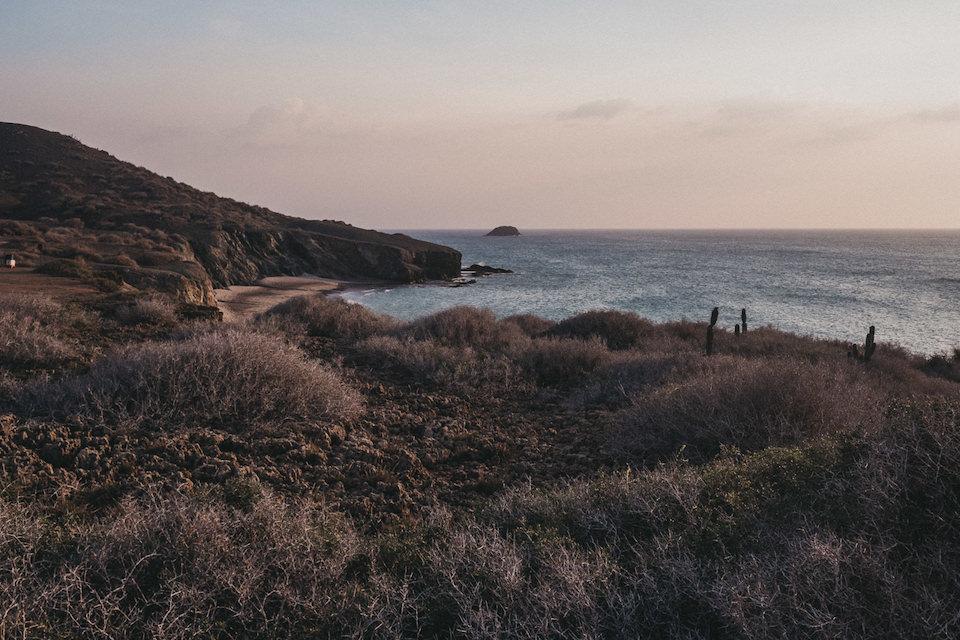 Blick über eine Wiese mit Blick auf das Meer.