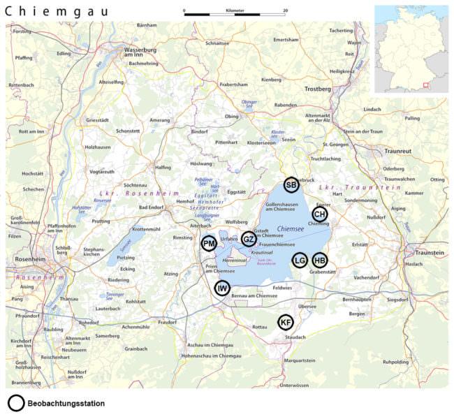 Karte des Chiemsees mit Beobachtungsstationen