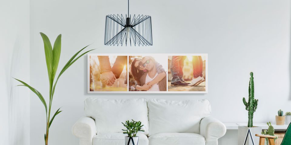 Ansicht eines Wohnzimmers mit Sofa, Pflanzen und Designmöbeln sowie einem Triptychon von bunten Fotografien an der Wand.