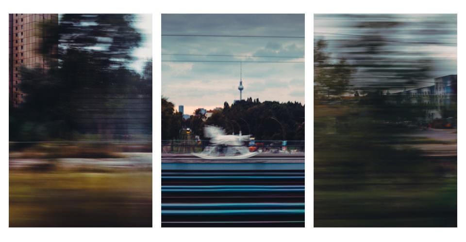 Triptychon aus verschwommenen Landschaften