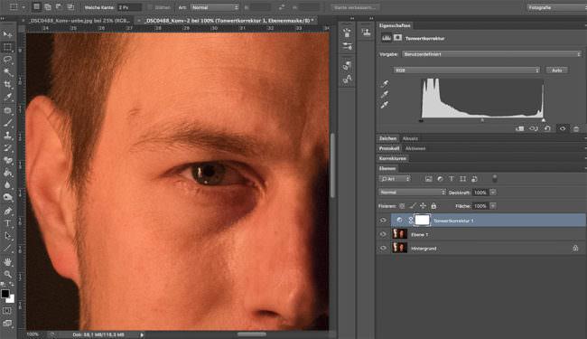 Photoshop-Bearbeitungsoberfläche mit dem Bildausschnitt eines Auges.