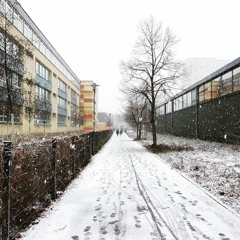 Ein verschneiter Weg in einem Wohngebiet.