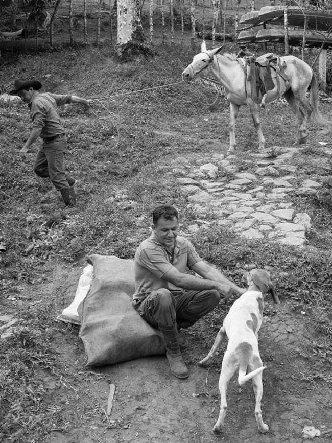 Ein Mann mit einem Hund und ein Mann, der ein Pferd am Halfter zieht.
