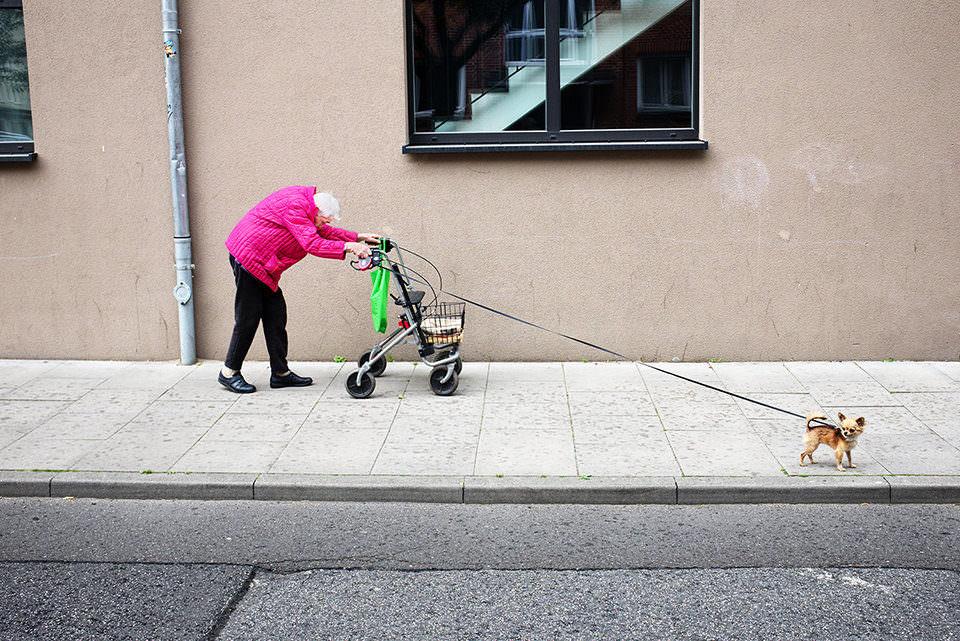 Eine Frau mit Gehhilfe und einem Hund