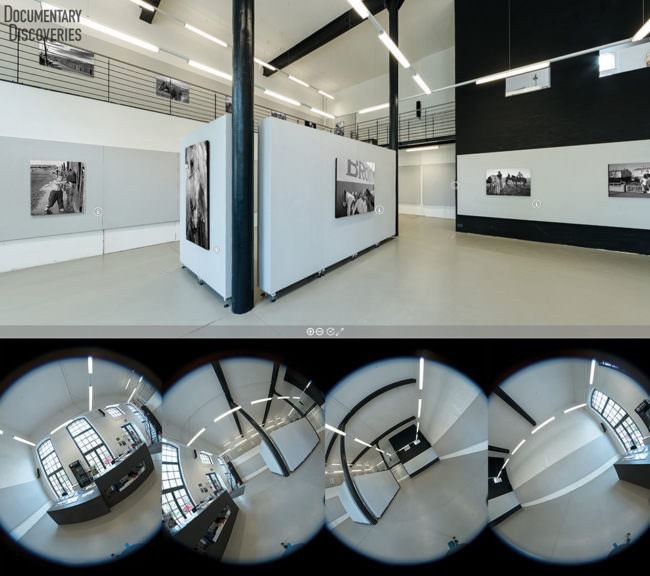 Raumansicht mit Bildern an der Wand sowie vier verzerrte Rundbilder eines Raumes.