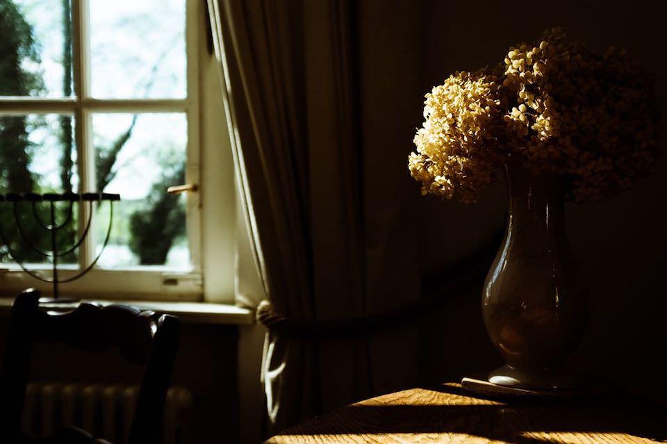 Eine Vase auf einem Tisch, die von der Sonne angestrahlt wird.