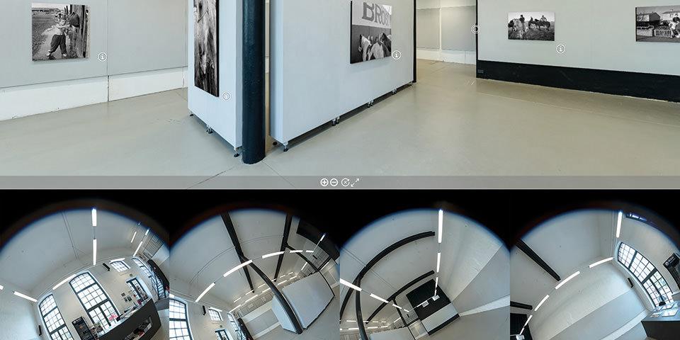 Raumansicht mit Bildern an der Wand. Sowie 4 verzerrte Rundbilder eines Raumes.