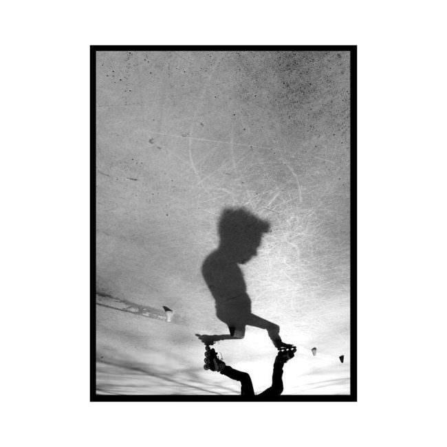 Schatten eines Rollschuhfahrers