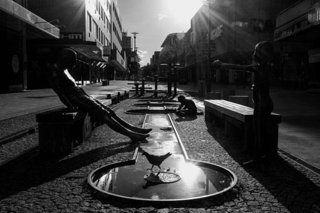 Wasserspiel in der Stadt