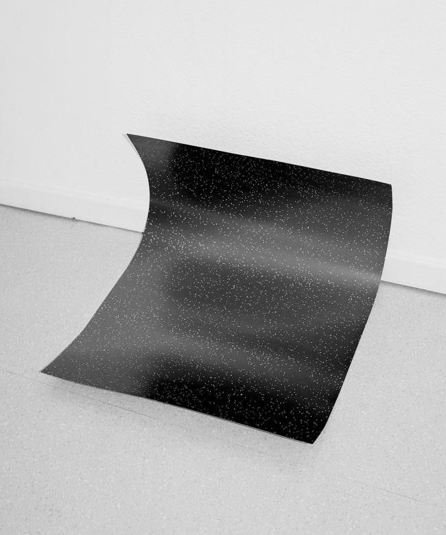 Blatt liegend in Ecke, schwarz mit weißen Punkten darauf.