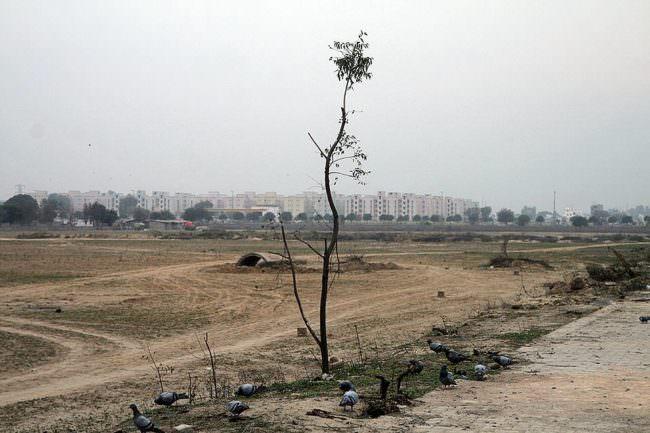 Ebene mit Siedlung im Hintergrund