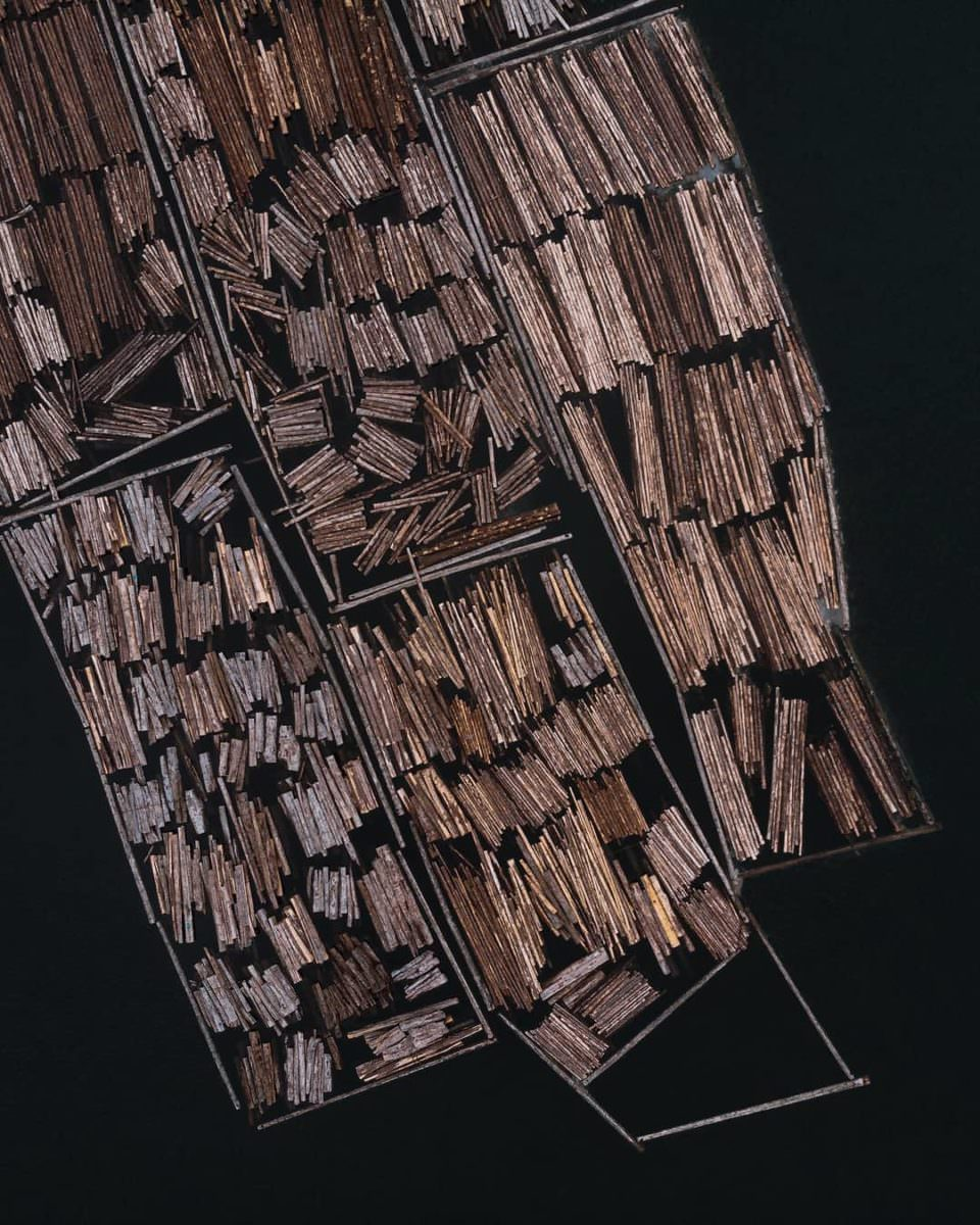 Viele Holzstämme geometrisch angeordnet.
