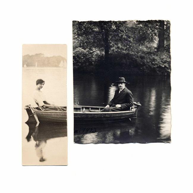 Zwei alte Fotografien. Die eine zeigt eine Frau in einem Boot, die andere einen Mann in einem Boot.