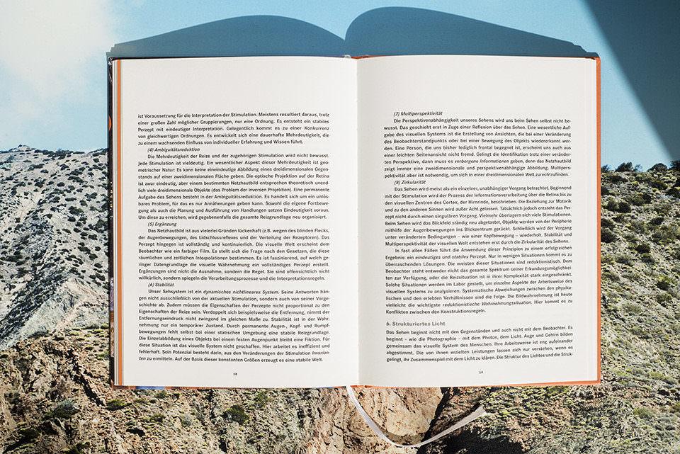 Ansicht eines offenen Buches voller Text vor einer Berglandschaft.