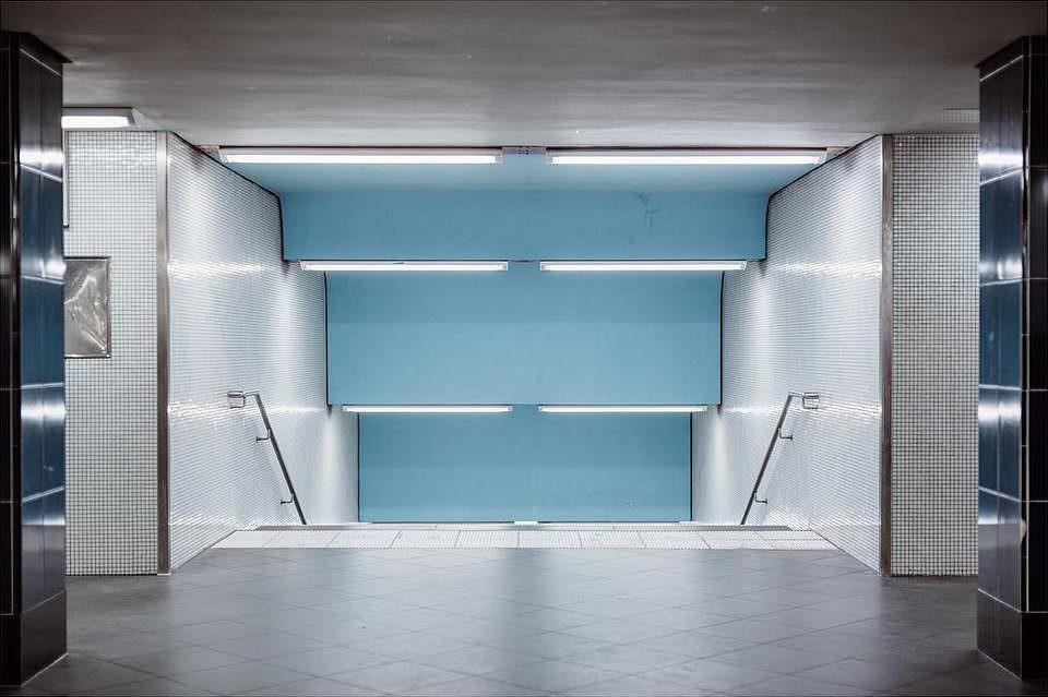 Architektur in grau und blau