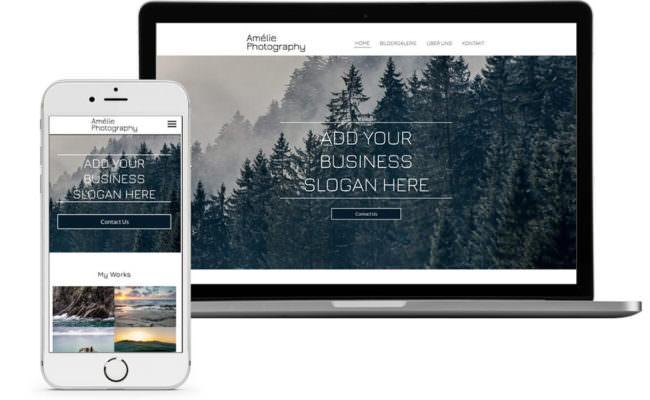 Webseite auf Bildschirm und Smartphone