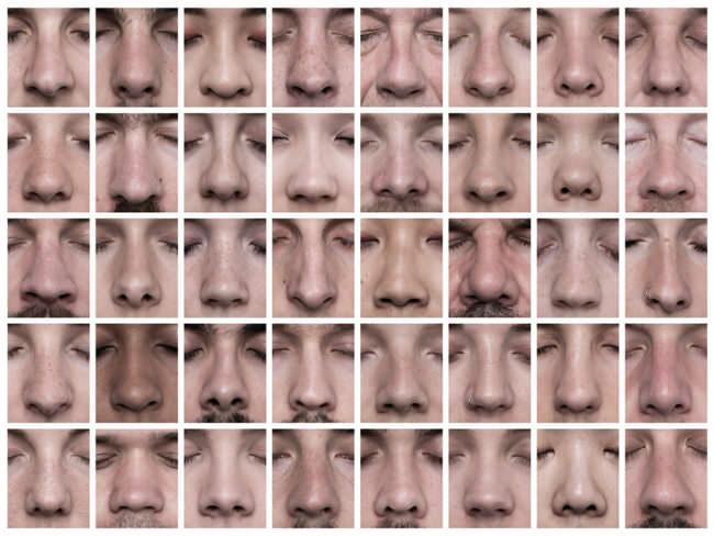 Viele menschliche Nasen von vorn.