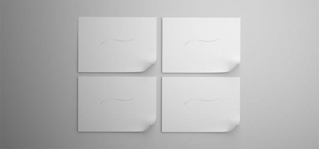 vier gleiche Blätter mit Linien