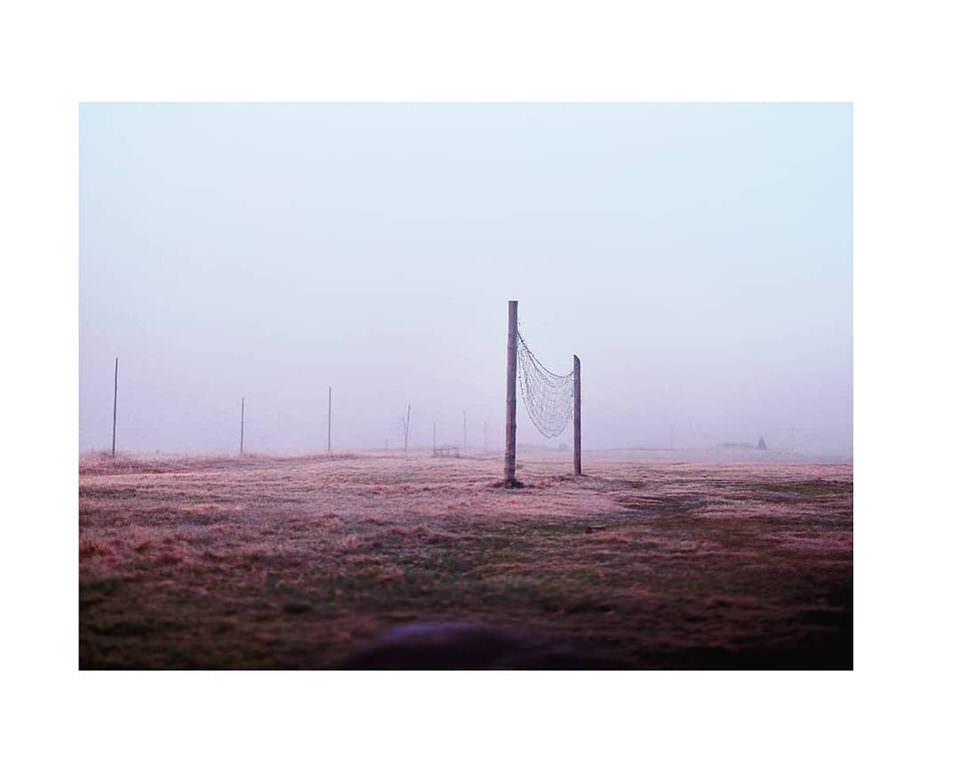 Netz in nebliger Landschaft