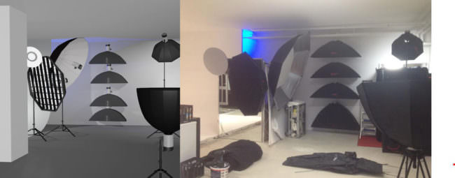 Zwei Bilder von Studiolampen.