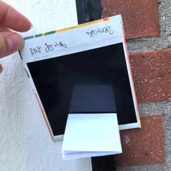 Rückseite eines Polaroids