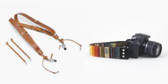 Lederdoppelgurt und Kamera mit buntem Trageband.