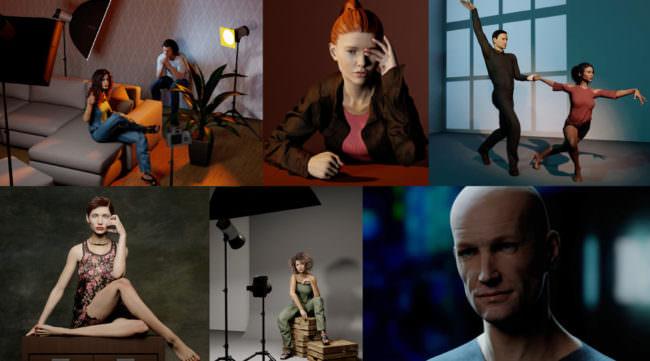 Collage mit posierenden Personen