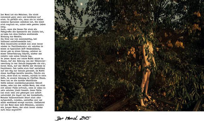 Mensch steht nackt im Gebüsch