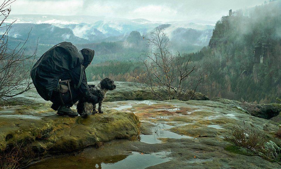 Person mit Hund in weiter Landschaft