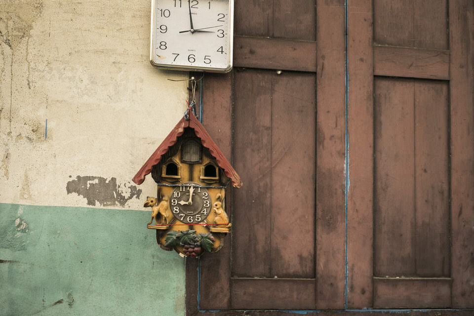 Kuckucksuhr und Uhr an einer Wand