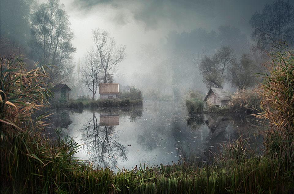 Nebel an einem See