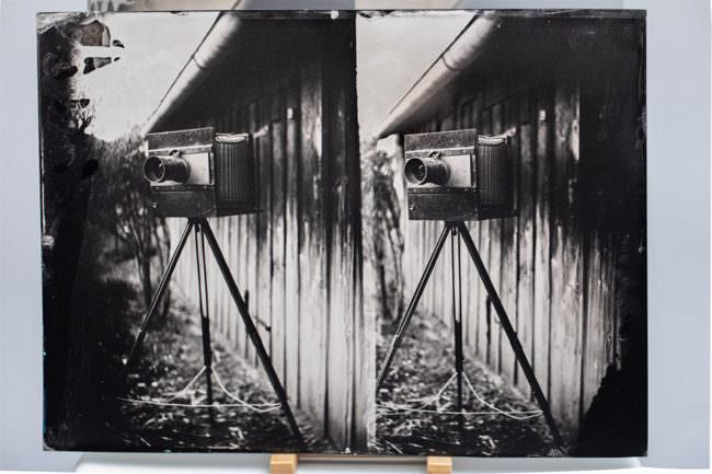 Stereoaufnahme einer alten Kamera