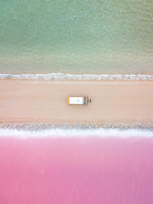 Weg am Strand von oben