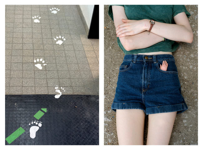 Fußspuren auf Fliesen und ein auf dem Boden liegendes Mädchen
