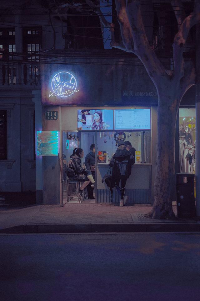 Kiosk in der Nacht