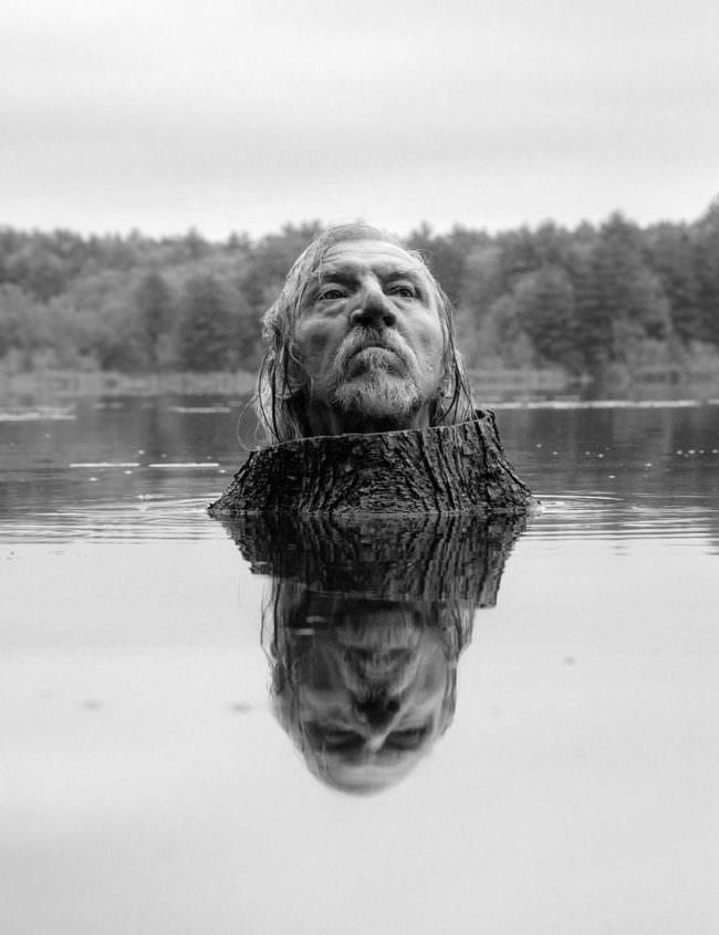 Kopf auf einem Baumstamm im Wasser